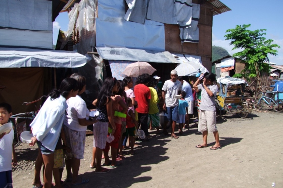 Despite all these time, people are still lining up for free porridge offered by the project...